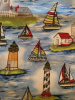 "Primary Sailboats & Lighthouses - 8"" round"