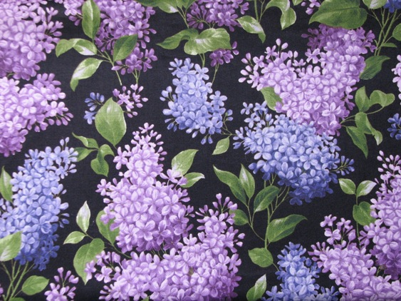 "Large Lilacs on navy - 8"" round"