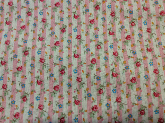 "Small Floral on Pink/White Stripe 2019 - 8""round"