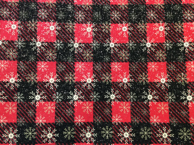 "Snowflakes/Glitter on Red/Black Buffalo Plaid 2019 - 8"" round"