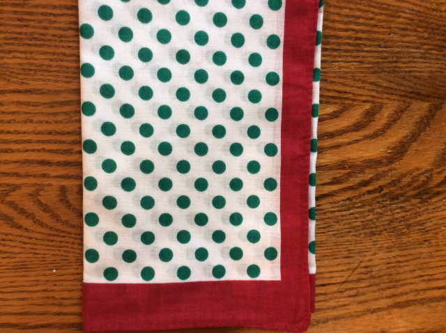 White background with green polka dots and a solid red border