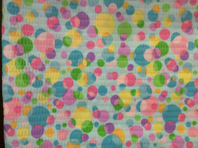 "Pastel Bubbles on Blue Plisse - 8"" round"