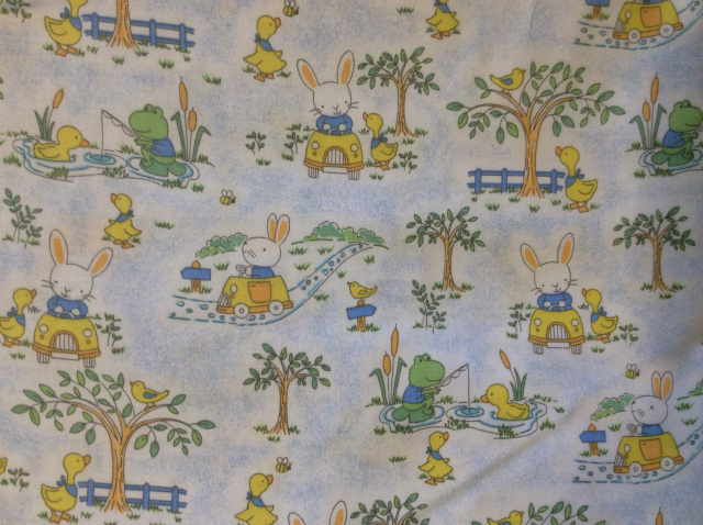 "Bunnies, Frogs & Ducks on Light Blue - 8"" round"