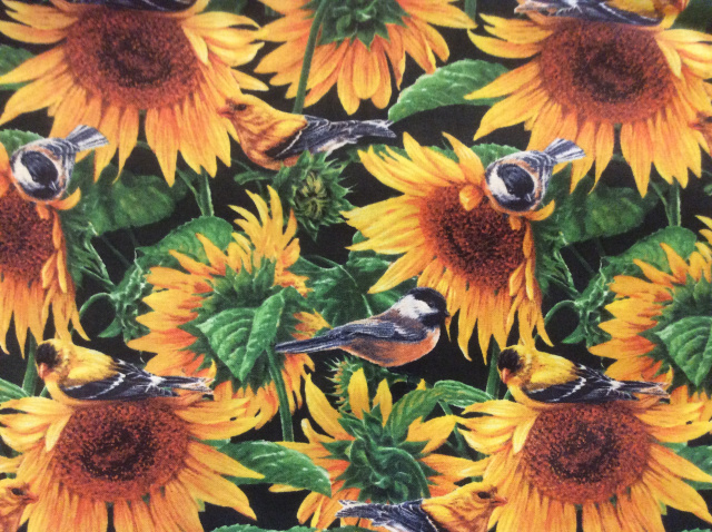 "Sunflowers & Birds - 8"" round"