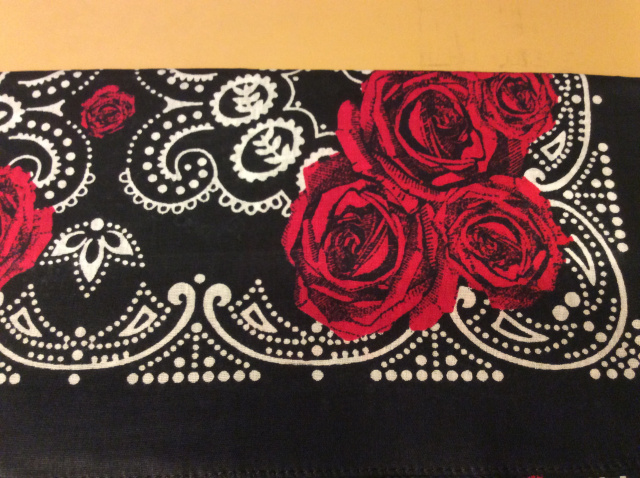 Bandana - Red Roses on Black/White