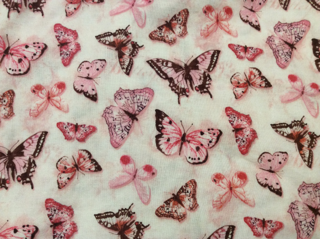 "Pink Butterflies on White - 8"" round"