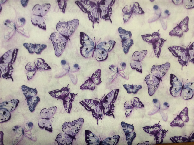 "Lavender Butterflies on White 2018 - 8"" round"