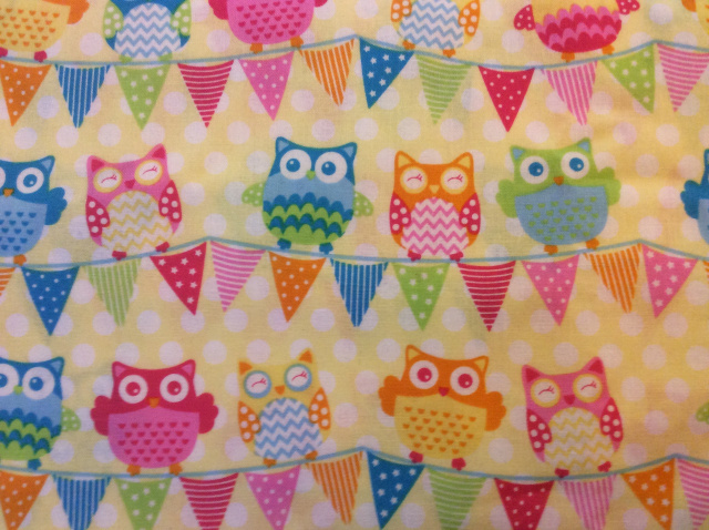 "Cute Owls & Flags on Light Yellow - 8"" round"