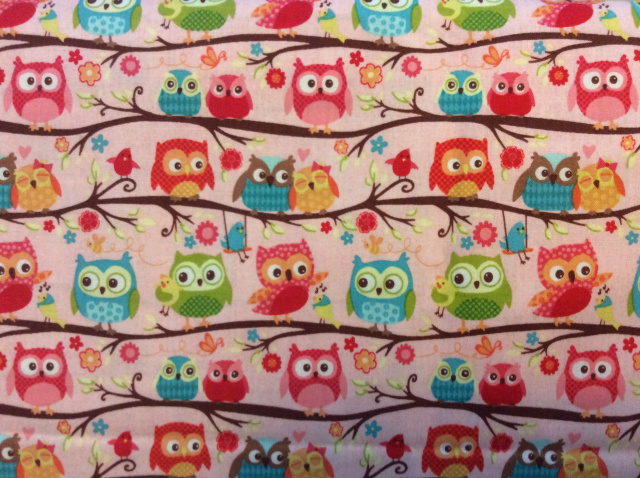 "Snuggling Owls on Light Pink - 8"" round"