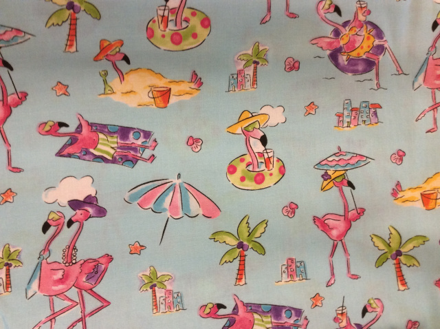 "Flamingos at the Beach - 8"" round"
