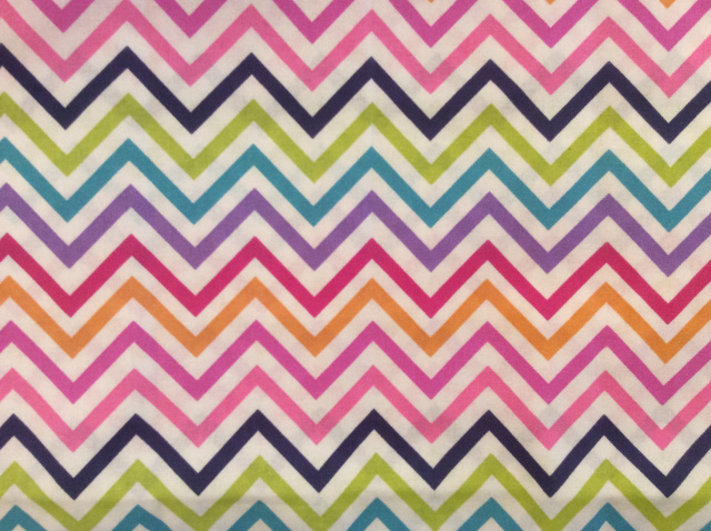 "Multi-color Chevrons on White - 8"" round"