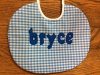 "1/8"" Blue Gingham with royal blue letters - 8"" round"