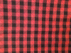 Black/red buffalo plaid with diagonal black stitches